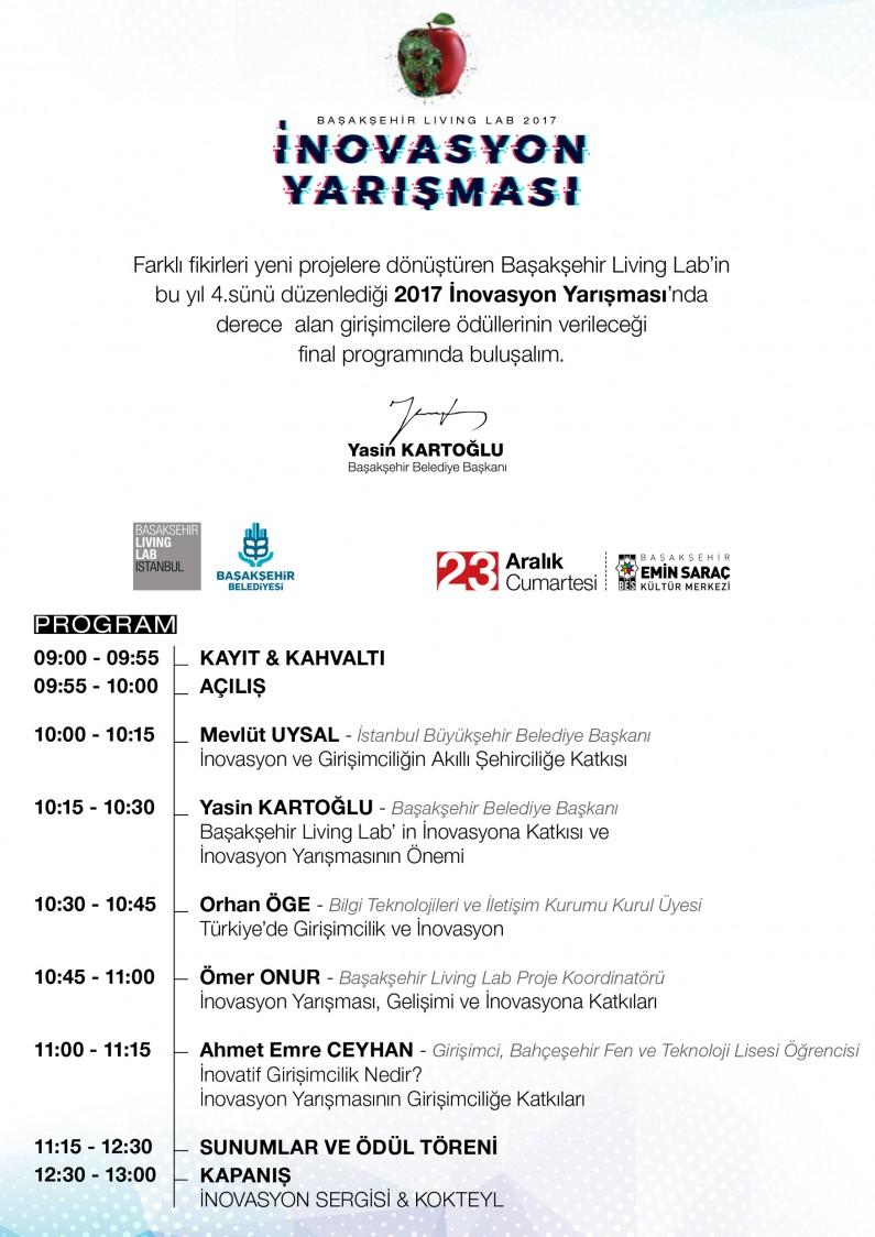 Başakşehir Living Lab İnovasyon Yarışması 2017 Sergisi ve Ödül Töreni Daveti