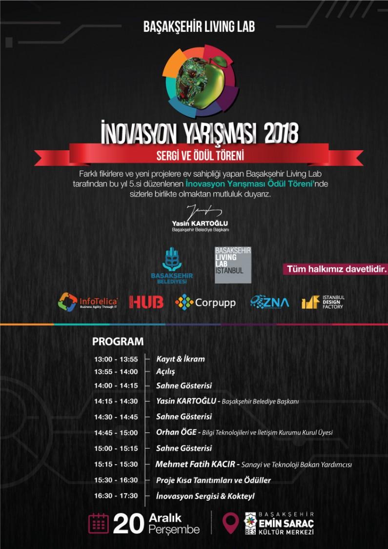 Başakşehir Living Lab İnovasyon Yarışması 2018 Sergisi ve Ödül Töreni Daveti